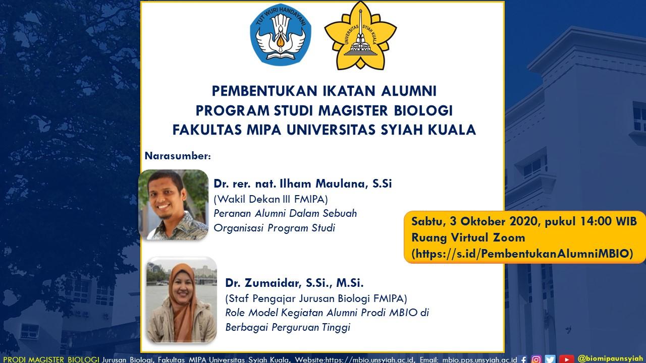 Pembentukan Ikatan Alumni Prodi Magister Biologi FMIPA Unsyiah